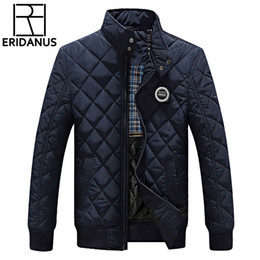 Wholesale Men S Down Winter Coats - Wholesale- Winter Jacket Men 2016 New Autumn Men's Casual Cotton Quilted Jackets Korean Slim Fit Fashion Stand Collar Solid Warm Coats M414