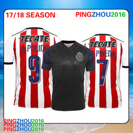 Wholesale Thai Wholesale Soccer Jerseys - DHL Free shipping Thai quality jersey soccer Chivas Guadalajara 2017 2018 A. PULIDO football jerseys 1718 O.BRAVO soccer jersey wholesale
