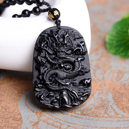 Wholesale Obsidian Necklace For Men - Fashion Pendants Necklaces For Men Women With Carving Dragon Natural Black Obsidian Lucky Amulet Pendant Necklace For Casual Gift