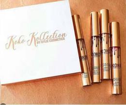 Wholesale Lipstick Making Set - New Kylie Jenner Lip Kit Lip gloss KOKO Kollection Kylie Cosmetics kollaboration Gold Metal Matte lipstick make up 4Pcs Set Epacket