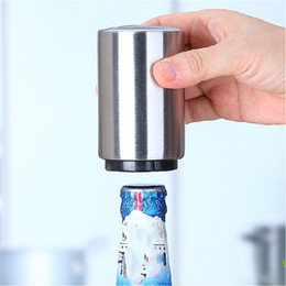 Wholesale Cylinder Bottles - Stainless Steel Magnet-Automatic Bottle Opener Automatic Beer Opener Silver cylinder Bottle Opener