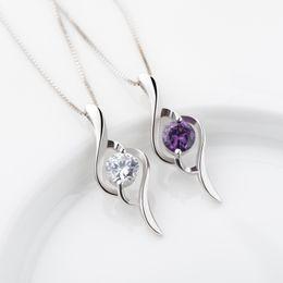 Wholesale diamond snake pendant necklace - 925 sterling silver Top Grade Diamond Cubic Zircon Heart Pendant necklace For Wedding Dress Sets Party