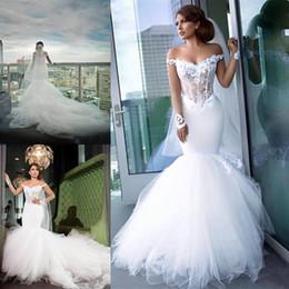 Luxuoso mais vestidos de casamento do tamanho on-line-2020 vestidos de noiva novo Mermaid Luxurious Alças Lace apliques de mangas compridas Tulle Plus Size Vestidos Capela Trem do vestido de casamento de noiva