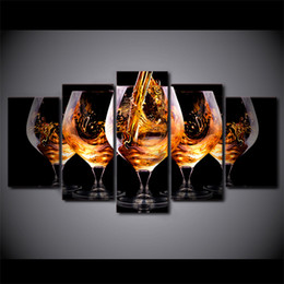 Wholesale Canvas Paintings Wine Glasses - Five Big Wine Glasses 5 Panel Canvas Painting Modern Wall Art home decor Print poster Pictures For bedroom Unique gift