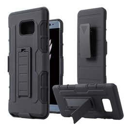 Wholesale Galaxy Phone Plastic Cases - Luxury Hybrid Kickstand Case For Samsung Galaxy S7 S6 Edge Plus S5 Note3 Note4 Note5 Note7 3 in 1 Impact Rugged Future Armor Phone Cover