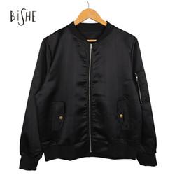 Wholesale Cool Basic - Wholesale- 2017 Fall Women's Jacket Fashion Casual Cool Top Bomber Jaqueta Feminina Zipper Pockets Cappotto Donna Long Sleeve Basic Casac