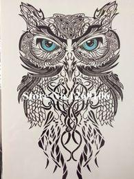 Wholesale 58 Stickers - Wholesale- Simple Blue Eye OWL Hot Sale 21 X 15 CM Temporary Tattoo Stickers Temporary Body Art Waterproof #58