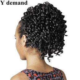 Wholesale Accessories Curly Hair - Cool Hair Accessories Extensions Natural Ponytails Afro Claw Drawstring Ponytail Kinky Curly Ponytail Short High Sports Ponytail Y demand