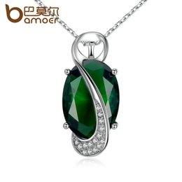 Wholesale Cut Stone Necklace - BAMOER 41.5+5CM Chain Green Stone Oval Cutting High Quality Necklaces & Pendants Women Fashion Jewelry JIN102-GN
