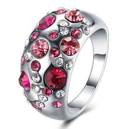 Wholesale Pink Topaz Gold Rings - R076 Three Years Quality Assurance New Fashion Jewelry 18K Rose Gold Plated Pink Party Geometric Ring For Women Free Shipping