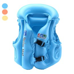 Wholesale Buoy Vest - Wholesale- Babies Inflatable Life Vest Water Fun Sports Swimming Vest Air Floating Island Buoy Raft Outdoor Swimwear Kids Cute Life Jackets