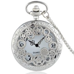 Wholesale Vintage Antique Skeleton Pocket Watches - Wholesale-2016 New Silver Gear Hollow Skeleton Vintage Quartz Pocket Watch Steampunk Necklace Men Women Pendant Best Gift P200