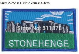 """Wholesale Souvenirs England - 2.75"""" Stonehenge Patch Embroidered Badge UNESCO Souvenir Applique Wiltshire England TV MOVIE Series Costume Emblem applique"""