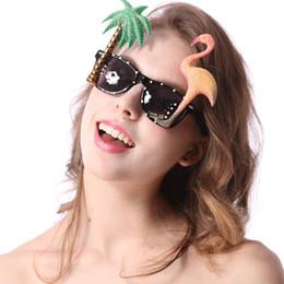 Wholesale Sunglasses Costume Wholesale - Fun Flamingo Sunglasses Hula Tropical Hawaiian Glitter Holidays Stag Pr of Flamingo Palm Tree Luau Party Sun glasses LC387