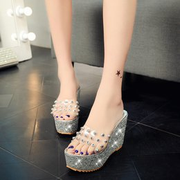 Wholesale Peep Wedges - New female slippers Women's Fashion sequins Platform Shoes wedge Heels Sexy transparent Rivet Peep Toe Sandals Pumps