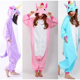 Wholesale Unicorn Adult Onesie - Adult Winter Kawaii Anime Hoodie Animal Pyjamas Cosplay Onesie Unicorn Pajama Costume Fleece Sleepsuit Jumpsuits Rompers