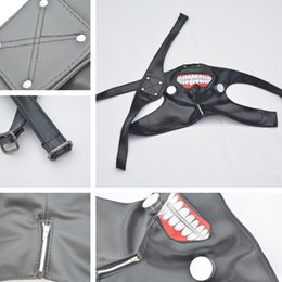 Wholesale Leather Zipper Mask - New Adjustable Belt Tokyo Ghoul Cosplay Kaneki Ken Zipper Black Cosplay Masks PU Leather Mask IC826