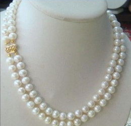 Wholesale pearl real akoya - hot 2 row 7-8MM AKOYA REAL WHITE PEARL NECKLACE