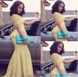 stili africani della moda della merletta Sconti Moda O Neck manica corta sirena abito da sera usura elegante giallo Nigeria stile pizzo abiti Aso Ebi africano Vestido Longo Plus Size