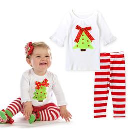 2019 terno de santa 3t Conjuntos de roupas de natal meninas ternos árvore de natal t camisa listrada vermelho crianças menina santa calças crianças meninas ternos de natal bebê gisl roupas terno de santa 3t barato