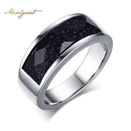 Wholesale Blue Wedding Sand - RMeaeguet Silver Color Wedding Rings For Men Dark Blue Sand And Stones Male Ring Jewelry USA size C-157