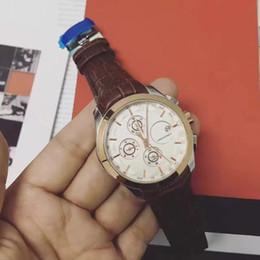 2017 fecha automática de lujo hombres de moda reloj de pulsera 6 pin de movimiento de cuero de cuarzo de alta calidad reloj de los hombres reloj de Brown Tachymeter desde fabricantes