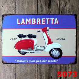 Wholesale Vintage Scooter - Vintage Style Retro Metal Sign Lambretta scooter moped gift