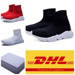 Wholesale High Top Training Shoes - 2017 New Black Sock Outdoor Sports Running Shoes Training Sneakers Shoes Speed Knit Sock High-Top Training Sneakers With Box Free DHL