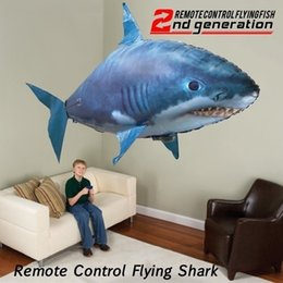 Wholesale Child Toy Balloon - 1 Pcs Remote Control Flying Shark or Fish Air Swimmers Funny Inflatable Toy Blimp Balloon Toy Children Gifts
