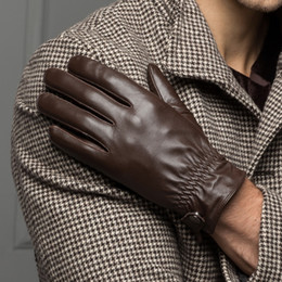 Wholesale Thin Black Leather Gloves - Wholesale- YY8715 Men Autumn Winter Genuine Leather Black Brown Thick Thin Short Gloves Male Brand New Button Elastic Driving Gym Guantes