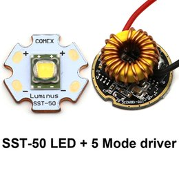 Wholesale Luminus Led - Wholesale- Luminus SST-50 LED Emitter 1300LM 10W 3000K warm white Led Chip bulb diode 20mm copper base + 5 Modes SST50 driver Circuit board