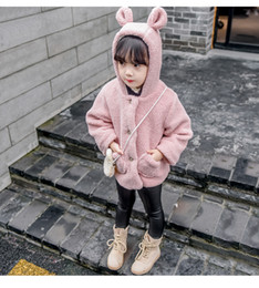 Wholesale Korean Girl S Clothing - Can Custom Children's clothing 2017 autumn and winter new girls hooded plush sweater jacket children's cartoon Korean style plus velvet coat
