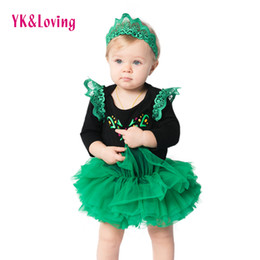 Wholesale Tutu Skirts For Newborns - Baby Girls Clothes Sets Long Sleeve Black Tutu Rompers With Exquisite Embroidery Lace Top Green Skirt Princess for Newborn Infant Costume