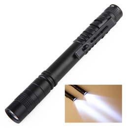 Wholesale Penlight Torch - wholesale Free DHL Fedex UPS led Flashlights Outdoor Pocket Portable Torch Lamp 1 Mode 300LM Pen Light Waterproof Penlight with Pen Clip