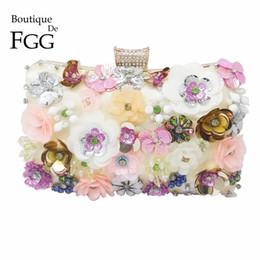 Wholesale metal bushes - Multi Flower Bush Crystal Beaded Sequins Evening Wedding Clutch Bag For Women Chain Shoulder Handbags Bridal Metal Clutches Bag