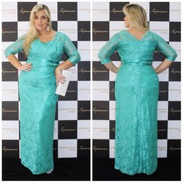 Wholesale Turquoise Women Dresses - Turquoise Lace Plus Size Mother Of The Bride Dresses With Sleeve Sheath Long Special Occasion Party Gowns For Maxi Fat Women