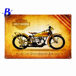 "Wholesale Vintage Neon Signs - Wholesale- Neon Beer Sign""Harley Davidson Ba 1927"" Vintage Metal Tin Signs Retro Tin Plate Sign Wall Decoration for Cafe Bar Feyenoord Ajax"