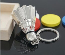 Wholesale Badminton Keychains - Sports Badminton Ball Keychain Stainless Steel Metal Casual Sporty Feather Carabiner Keychain with Zinc Alloy for Gift