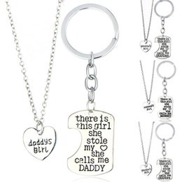 Wholesale Mixed Order Necklace - Best gift Girl Stole Heart Mommy daddy Series Mother 's Day Father' s Day Necklace Key Chain WFN017 (with chain) mix order 1set=2 pieces