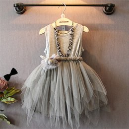 Wholesale Korean Frocks - children frocks designs 2017 summer korean style kids baby girl gray appliqued gauze tulle tutu dress soft cotton princess party dresses