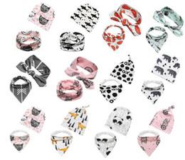Wholesale Embellished Headbands - 5 sets lot(90 styles for choose) INS printing hat Headband+bibs 2pcs set baby cotton fox crocodile Bear Batman tiger printing cap and bibs