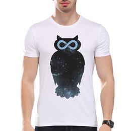 Wholesale Mens Galaxy T Shirt - Mens Clothing Tees Cheap Men's Galaxy Star Owl Print T-Shirt Men Summer Modal Hipster Tees white