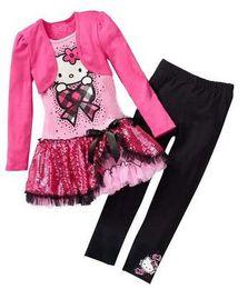 Wholesale Baby Suits Dress Retail - Wholesale- Retail 2016 Kids Clothes Sets Fashion Autumn 2pcs Sets Skirt Suit Hello Kitty Baby Girls Dresses Clothing Sets Shirt +Pants