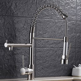 Wholesale Cheap Kitchen Pull Out Faucets - DHL Free Shipping! Cheap Kitchen Taps With Deck Mounted Two Outlet  Brass Brushed Faucet can be Pull out and down HS319