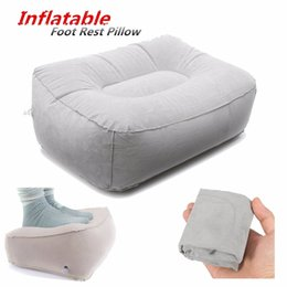 Wholesale Foot Rest Pad - Wholesale- Portable PVC Train Flight Inflatable Foot Rest Pillow Pad Mat Footrest Pillow Home Outdoor Foot Relief Cushion Travel Supplies