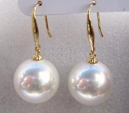 Wholesale Natural Shell Chandelier - 12mm natural Australian south sea white shell pearl earring 14K yellow gold