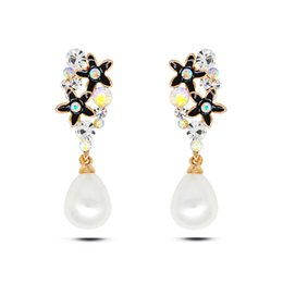 Wholesale Japanese Stud Earrings - Japanese and South Korea 2016 new enamel flower inlaid pearl studs earrings real gold plated allergy free earrings women fashion jewelry