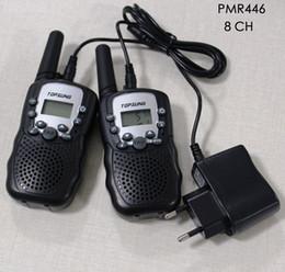 Wholesale Handy Uhf - Portable handy two way radio mobile walkie talkies transceiver T388 walk talk communication 500mW PMR FRS interphones 3km w  flashlight