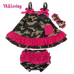 Wholesale Infant Baby Swing - Wholesale- Newborn Girl Clothes Sets Clothing Infant Cotton Swing Top Set Ruffle Outfits Bloomer Next Baby Girls 0-2 yrs 3pcs Set