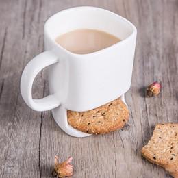 Wholesale Cookie Holder Mug - Ceramic Mug Coffee Biscuits Milk Dessert Cup Tea Cups Bottom Storage for Cookie Biscuits Pockets Holder For Home Office XL-227